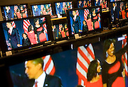 Barack Obama and family seen on BBC News TV screens in London's John Lewis department store after election victory