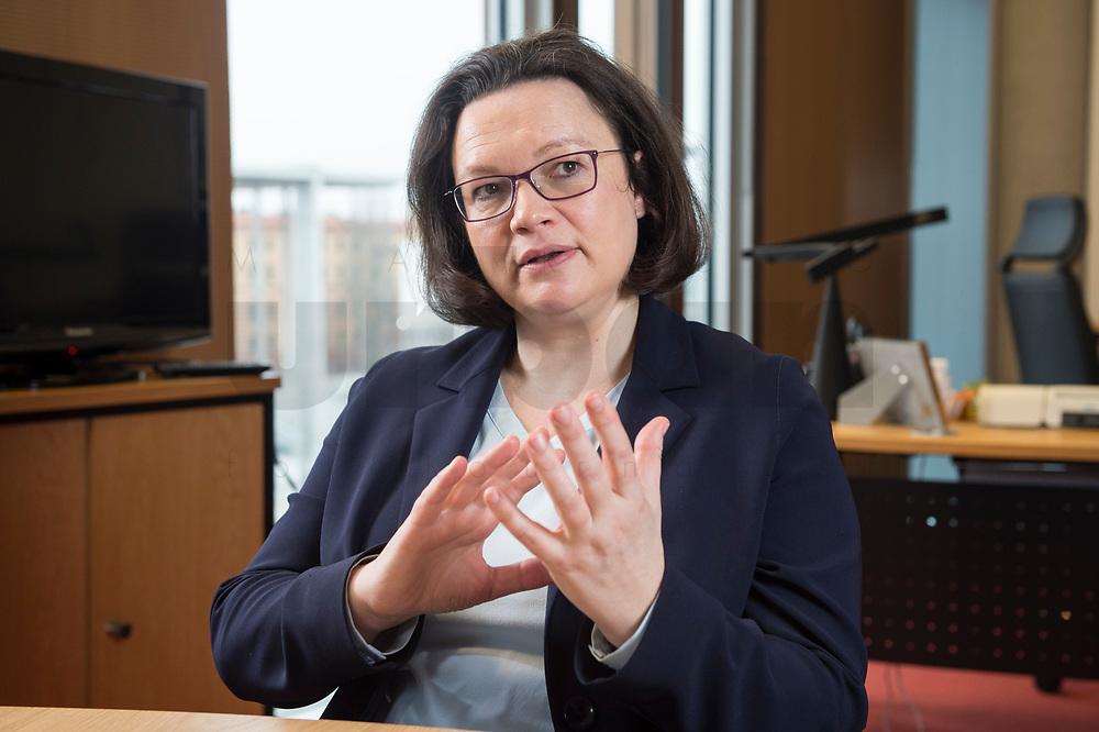 15 MAR 2018, BERLIN/GERMANY:<br /> Andrea Nahles, SPD Fraktionsvorsitzende, waehrend einem Interview, in ihrem Buero, Jakob-Kaiser-Haus, Deutscher Bundestag<br /> IMAGE: 20180315-01-006<br /> KEYWORDS: Büro
