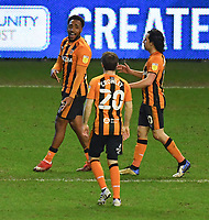 Hull City's Mallik Wilks celebrates his hat trick against Wigan<br /> <br /> Photographer Dave Howarth/CameraSport<br /> <br /> The EFL Sky Bet League One - Wigan Athletic v Hull City - Wednesday 17th February 2021 - DW Stadium - Wigan<br /> <br /> World Copyright © 2021 CameraSport. All rights reserved. 43 Linden Ave. Countesthorpe. Leicester. England. LE8 5PG - Tel: +44 (0) 116 277 4147 - admin@camerasport.com - www.camerasport.com