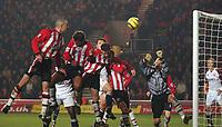 Fotball<br /> Premier League England 2004/2005<br /> Foto: SBI/Digitalsport<br /> NORWAY ONLY<br /> <br /> Southampton v Middlesborough<br /> 11/12/2004<br /> <br /> Southampton's Danny Higginbotham (far left) scores an own goal