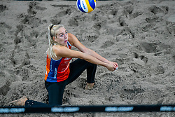 Esmee Priem in action during the first day of the beach volleyball event King of the Court at Jaarbeursplein on September 9, 2020 in Utrecht.