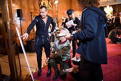 Designer Julien Macdonald makes last minute adjustments backstage before the Julien Macdonald Autumn/Winter 2017 London Fashion Week show at Goldsmith's Hall, London.PRESS ASSOCIATION Photo. Picture date: Saturday February 18th, 2017. Photo credit should read: Matt Crossick/PA Wire.