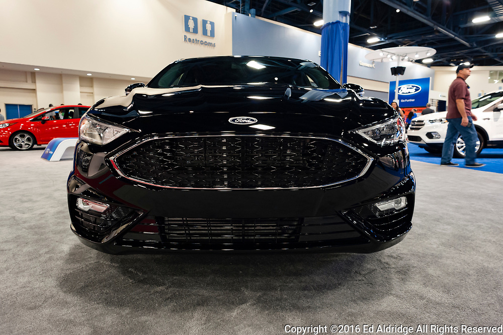 Miami, USA - September 10, 2016: Ford Fusion Sport on display during the Miami International Auto Show at the Miami Beach Convention Center.