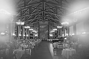 Ahwahnee Hotel Dining Room Set for Dinner, Yosemite Valley, Yosemite National Park, Sierra Nevada Mountains, California architecture, frozen fogged lens