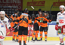 26.12.2018, Merkur Eisstadion, Graz, AUT, EBEL, Moser Medical Graz 99ers vs EC KAC, 31. Runde, im Bild von links Curtis Hamilton (Moser Medical Graz 99ers), Travis Oleksuk (Moser Medical Graz 99ers), Lukas Kainz (Moser Medical Graz 99ers) und Erik Kirchschläger (Moser Medical Graz 99ers) // during the Erste Bank Eishockey League 31th round match between Moser Medical Graz 99ers and EC KAC at the Merkur Eisstadion in Graz, Austria on 2018/12/26. EXPA Pictures © 2018, PhotoCredit: EXPA/ Erwin Scheriau