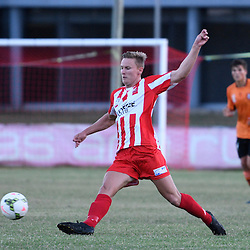 BRISBANE, AUSTRALIA - FEBRUARY 25: Sam Cronin of Olympic FC in action during the NPL Queensland Senior Men's Round 1 match between Olympic FC and Brisbane Roar Youth at Goodwin Park on February 25, 2017 in Brisbane, Australia. (Photo by Patrick Kearney/Olympic FC)