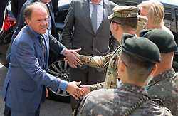 June 14, 2017 - Kaesong, SOUTH KOREA - Flemish Minister of Employment, Economy, Innovation, Science Policy and Sports Philippe Muyters is welcomed prior to visit the joint visitor center at the demilitarized zone (DMZ), near Kaesong, near the boarder line between North and South Korea, on the fourth day of an economic mission of Belgium's Princess Astrid to South Korea, Wednesday 14 June 2017. BELGA PHOTO BENOIT DOPPAGNE (Credit Image: © Benoit Doppagne/Belga via ZUMA Press)