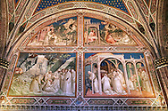 Frescoes of the Sacristy depicting the life of Saint Benedict dating from 1387 and commissioned by Benedetto degli Alberti  .San Miniato al Monte (St. Minias on the Mountain) basilica , Florence, Italy. .<br /> <br /> Visit our ITALY PHOTO COLLECTION for more   photos of Italy to download or buy as prints https://funkystock.photoshelter.com/gallery-collection/2b-Pictures-Images-of-Italy-Photos-of-Italian-Historic-Landmark-Sites/C0000qxA2zGFjd_k<br /> If you prefer to buy from our ALAMY PHOTO LIBRARY  Collection visit : https://www.alamy.com/portfolio/paul-williams-funkystock/florence.html ..<br /> <br /> Visit our MEDIEVAL PHOTO COLLECTIONS for more   photos  to download or buy as prints https://funkystock.photoshelter.com/gallery-collection/Medieval-Middle-Ages-Historic-Places-Arcaeological-Sites-Pictures-Images-of/C0000B5ZA54_WD0s
