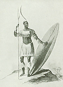 Chaka, the Chief of the Amazulu, who made the nation the terror of the whole of Easteern South-Africa.  He was murdered in 1828 and succeeded by his half-brother Dingaan.