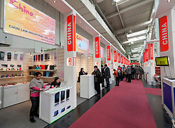 Stalls at China Golden Mall at CeBIT 2011 digital and electronics trade fair in Hannover March 2011 Germany
