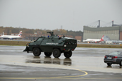 November 18, 2016 - Berlin, Germany - An armored vehicle is pictured prior to the departure of US President Barack Obama at Tegel airport in Berlin, Germany on November 18, 2016. (Credit Image: © Emmanuele Contini/NurPhoto via ZUMA Press)