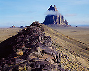 Crest of volcanic dike leading toward volcanic core of Shiprock, New Mexico.