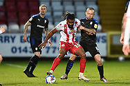 Stevenage forward Tyrone Marsh(10) battles for possession Jay Spearing of Tranmere Rovers during the EFL Sky Bet League 2 match between Stevenage and Tranmere Rovers at the Lamex Stadium, Stevenage, England on 16 January 2021.
