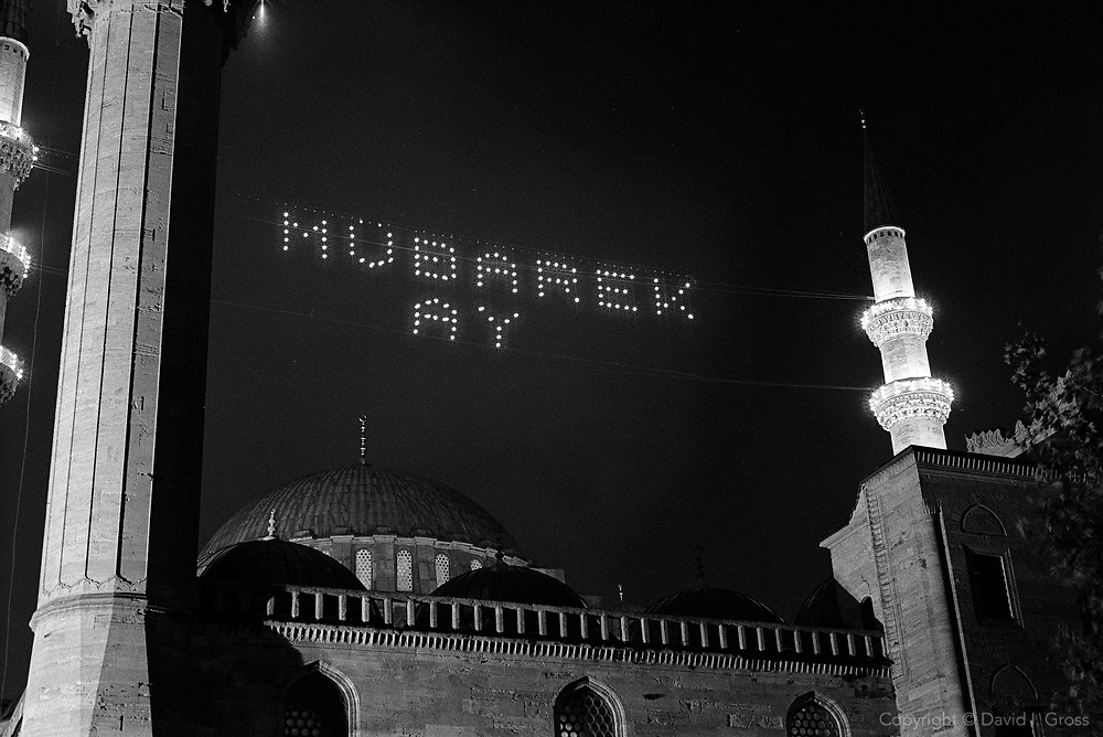 Lights on the Suleymaniye Mosque for the Muslim holy month of Ramadan in Istanbul, Turkey.