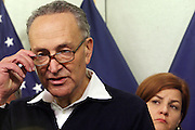 October 30, 2012- Brooklyn, NY: New York Senator Chuck Schumer updates New Yorkers and the Nation of efforts and numbers on city response to Hurricane Sandy held at the Office of Emergency Management on October 30, 2012 in Downtown Brooklyn, NY. The Super Hurricane has ravaged parts of the New York City area where the storm has brought 23 serious fires to parts of Staten Island, Brooklyn, Queens as well as City Island and the Bronx, including the destruction of more than 80 houses in the Breezy Point section of the Rockaways.  (Terrence Jennings) .