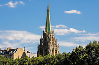 Paris, France. View from a boat on the river Seine.  The American Church in Paris is the first American church established outside the United States. Built 1931.