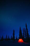 Alaska. Winter camping with Aurora borealis.