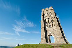 © Licensed to London News Pictures. 23/06/2015. Glastonbury, UK.  A clear blue sky over Glastonbury Tor on the eve of the first day of Glastonbury Festival 2015.  This years headline acts include Kanye West, The Who and Florence and the Machine, the latter being upgraded in the bill to replace original headline act Foo Fighters.  Photo credit: Richard Isaac/LNP