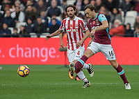 Football - 2016 / 2017 Premier League - West Ham United vs. Stoke City<br /> <br /> Mark Noble of West Ham  and Joe Allen of Stoke City at The London Stadium.<br /> <br /> COLORSPORT/DANIEL BEARHAM