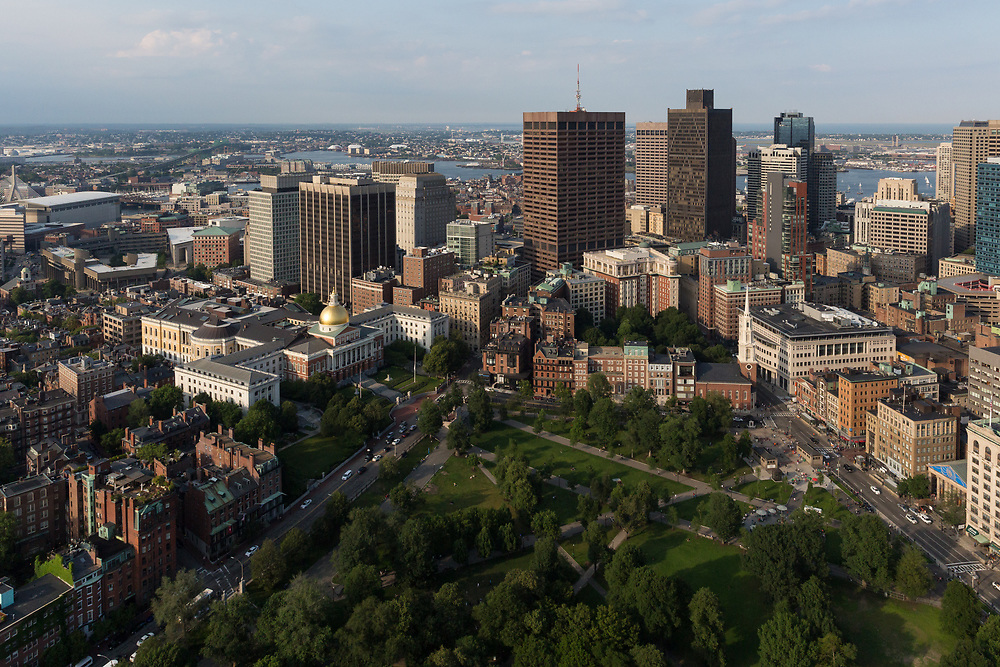 Flying over Boston Common on a beautiful summer day in a Bell 206.