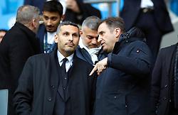 Khaldoon Al Mubarak (left) and Ferran Soriano ahead of the match during the Premier League match at the Etihad Stadium, Manchester.