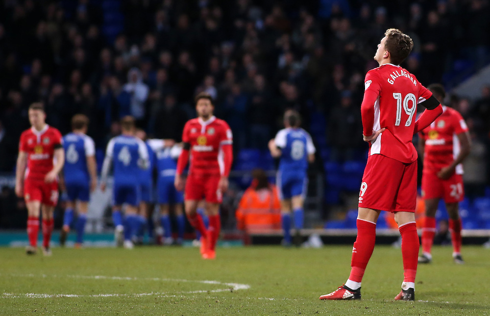 Blackburn Rovers' Sam Gallagher shows his dejection after his side go 3-1 behind<br /> <br /> Photographer David Shipman/CameraSport<br /> <br /> The EFL Sky Bet Championship - Ipswich Town v Blackburn Rovers - Saturday 14th January 2017 - Portman Road - Ipswich<br /> <br /> World Copyright © 2017 CameraSport. All rights reserved. 43 Linden Ave. Countesthorpe. Leicester. England. LE8 5PG - Tel: +44 (0) 116 277 4147 - admin@camerasport.com - www.camerasport.com