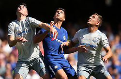 """Chelsea's Alvaro Morata with Everton's Michael Keane (left) and Phil Jagielka during the Premier League match at Stamford Bridge, London. PRESS ASSOCIATION Photo. Picture date: Sunday August 27, 2017. See PA story SOCCER Chelsea. Photo credit should read: Scott Heavey/PA Wire. RESTRICTIONS: EDITORIAL USE ONLY No use with unauthorised audio, video, data, fixture lists, club/league logos or """"live"""" services. Online in-match use limited to 75 images, no video emulation. No use in betting, games or single club/league/player publications."""