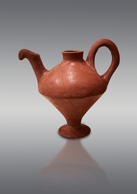 Hittite terra cotta side spouted teapot . Hittite Period, 1600 - 1200 BC.  Hattusa Boğazkale. Çorum Archaeological Museum, Corum, Turkey .<br />  <br /> If you prefer to buy from our ALAMY STOCK LIBRARY page at https://www.alamy.com/portfolio/paul-williams-funkystock/hittite-art-antiquities.html  - Type Hattusa into the LOWER SEARCH WITHIN GALLERY box. Refine search by adding background colour, place,etc<br /> <br /> Visit our HITTITE PHOTO COLLECTIONS for more photos to download or buy as wall art prints https://funkystock.photoshelter.com/gallery-collection/The-Hittites-Art-Artefacts-Antiquities-Historic-Sites-Pictures-Images-of/C0000NUBSMhSc3Oo