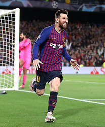 Barcelona's Lionel Messi celebrates scoring his side's second goal of the game