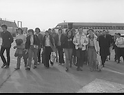 24/02/1979.02/24/1979.24th February 1979. Photograph of the group of 15 walkers who left Cork to walk to Rome in aid of charity returning to Ireland.
