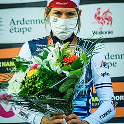 VAN DIJK Ellen ( NED ) – TREK - Segafredo ( TFS ) - USA – Third Place - Award Ceremony – Medal Ceremony – Podium - Hochformat – hoch – vertikal – Portrait - Event/Veranstaltung: Liège Bastogne Liège - Category/Kategorie: Cycling - Road Cycling - Elite Women - Elite Men - Location/Ort: Europe – Belgium - Wallonie - Liège - Start: Bastogne-Womens Race - Liège-Mens Race - Finish: Liège - Discipline: Road Cycling - Distance: 257 km - Mens Race - 135 km - Womens Race - Date/Datum: 04.10.2020 – Sunday - Photographer: © Arne Mill - frontalvision.com