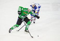 Miha Zajc (HDD Olimpija), Dustin Johner (EC VSV) during ice-hockey match between HDD Olimpija Ljubljana and EC VSV in EBEL League 2016/17, on February 19, 2017 in Hala Tivoli, Ljubljana, Slovenia. Photo by Vid Ponikvar / Sportida