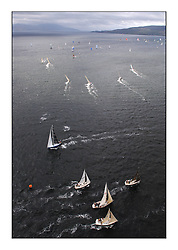 Day 2 of the Bell Lawrie Scottish Series with wild conditions on Loch Fyne for all fleets. Exhilarating and testing racing for Boats and crew...Fleet Shot Ariel View.