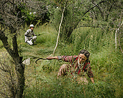 A Wakhi woman harvesting hay for the cows - to be used in winter. Upper Hunza.