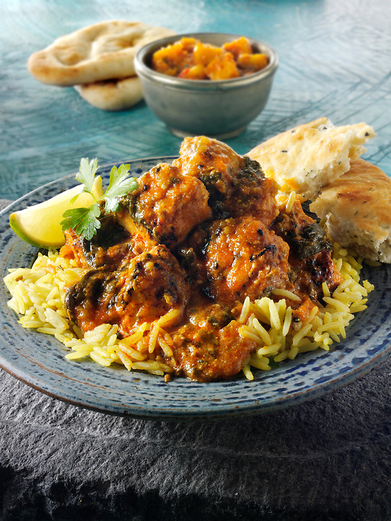 Chicken Sag Masala curry & rice, Indian food recipe  pictures, photos & images
