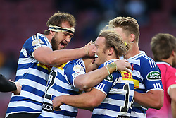 Huw Jones of Western Province is congratulated for scoring a try during the Currie Cup Premier Division match between the DHL Western Province and the Pumas held at the DHL Newlands rugby stadium in Cape Town, South Africa on the 17th September  2016<br /> <br /> Photo by: Shaun Roy / RealTime Images