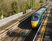 GWR Intercity Express train arriving at platform Pewsey railway station, Wiltshire, England, UK - West Coast Main Line