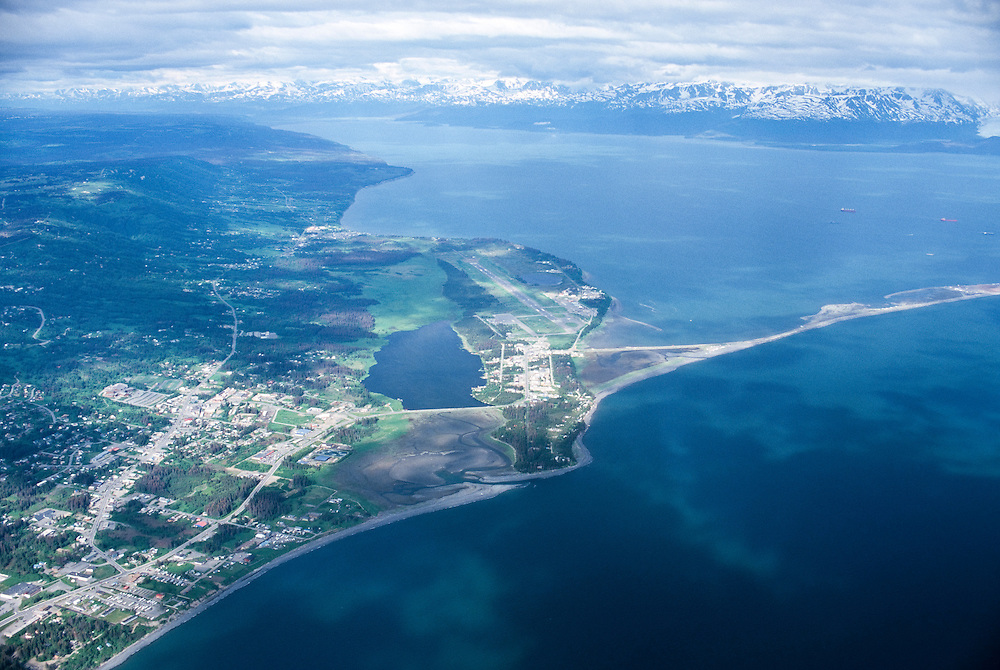 Alaska. Homer. Aerial view of the Homer spit and Kachemak Bay.
