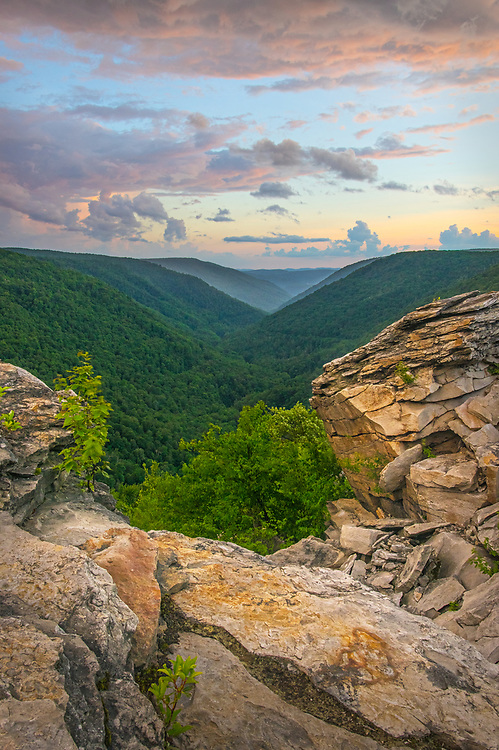 Rock, a deep green water carved canyon, and a passing storm combine to form an array of colors and elements at Lindy Point in Blackwater Falls State Park of West Virginia.