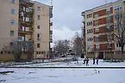 MACEDONIA, January 2016. City of Prilep. Riots broke out in Prilep after an ambush on a bus loaded with soldiers of the Macedonian Army where 10 soldiers were killed. The riots led to chasing all Albanian population and even other Muslim families out of town. Most of them never returned. Prilep provided the majority of Civilian drafted soldiers during the 2001 conflict.<br /> <br />  A graffiti on the towns football stadion reads: Death to Albanians. (Photo by Gregor Zielke)