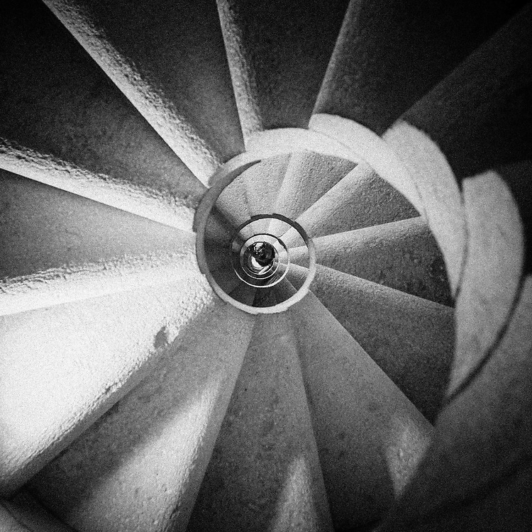 Gaudi's inspired 'snail staircase' in the Sagrada Familia. In this case, looking up, rather than a more familiar 'down' shot - I was intrigued by the additional curves on the underside of the steps. It also rather neatly shows his ratio of 1:12 with 12 steps to make the circle.