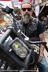 Chopper Charlie Weisel at the Iron Horse Saloon during the 78th annual Sturgis Motorcycle Rally. Sturgis, SD. USA. Sunday August 5, 2018. Photography ©2018 Michael Lichter.