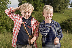 Young boys slingshot problem accident trouble