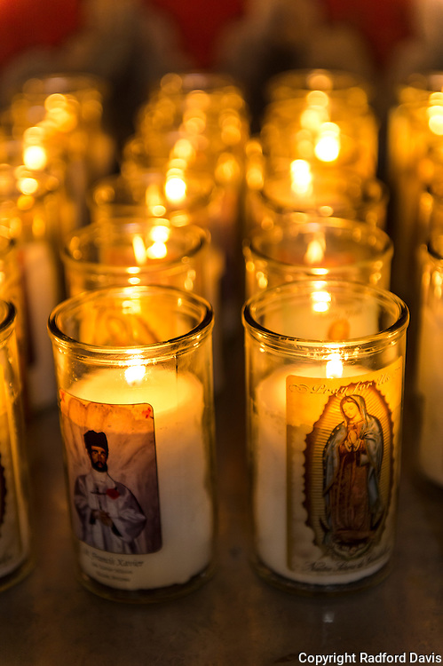 Candles inside the San Xavier del Bac Mission.