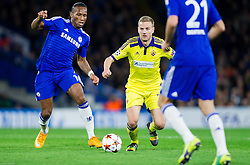 Didier Drogba of Chelsea vs Ales Mertelj of Maribor during football match between Chelsea FC and NK Maribor, SLO in Group G of Group Stage of UEFA Champions League 2014/15, on October 21, 2014 in Stamford Bridge Stadium, London, Great Britain. Photo by Vid Ponikvar / Sportida.com