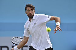 June 23, 2018 - London, England, United Kingdom - Jeremy Chardy of France plays forehand during the semi final singles match on day six of Fever Tree Championships at Queen's Club, London on June 23, 2018. (Credit Image: © Alberto Pezzali/NurPhoto via ZUMA Press)