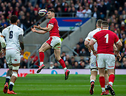 Twickenham, England, 7th March 2020, Airborne, Tomos WILLIAMS, catching the high ball, during the, Guinness Six Nations, International Rugby, England vs Wales, RFU Stadium, United Kingdom, [Mandatory Credit; Peter SPURRIER/Intersport Images]