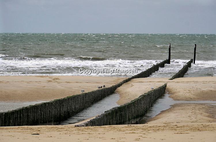 Nederland, Groede,  5-9-2019 Kust langs de Noordzee in Zeeuws Vlaanderen, Zeeland .. Strand met houten palen die als golfbreker dienen. Foto: Flip Franssen