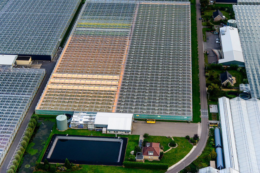 Nederland, Zuid-Holland, Gemeente Westland, 28-09-2014; Glazen stad, Kassengebied Westland, omgeving Maasdijk - De Lier. Kassen met groeilampen (assimilatieverlichting).<br /> Greenhouses area in the West of the Netherlands, the heart of the production of vegetables and fruit for export. Between The Hague and Rotterdam.<br /> luchtfoto (toeslag op standard tarieven);<br /> aerial photo (additional fee required);<br /> copyright foto/photo Siebe Swart