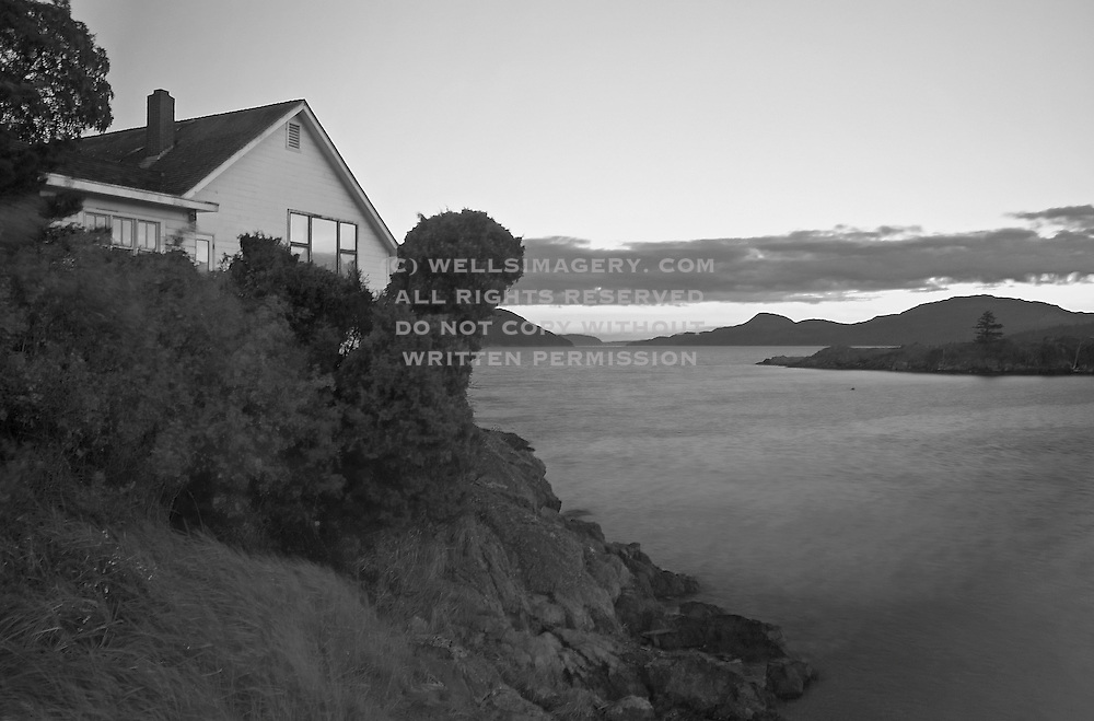 Image of Eastsound at dusk on Orcas Island, San Juan Islands, Washington, Pacific Northwest (toned black & white conversion) by Randy Wells